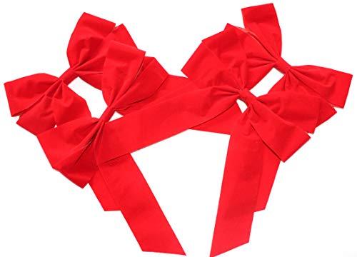 4 Stück große Schleife 20 x 30 cm Satinschleife,Glitzerschleife,Lurexschleife,Geschenkschleife Geschenk (Velour einfach Classic Rot)
