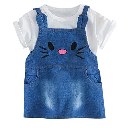 LIGESAY-Baby Kleinkind Kinder Jungen Mädchen Kleidung Set Brief Tops Tee + Katze Overall Denim Kleid Outfits Set Neugeborenes Outfit Kostüme Festliche Ruffle Kitty Streifen (Rosa Kitty Katze Kostüm)