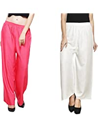 Eldino Rayon Dark Peach Off White Plazo Pant Indian Ethnic Plain Casual Wear Plazo Pant Women's Girls