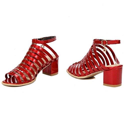 COOLCEPT Damen Romer Cut Out Riemchen Sandalen Blockabsatz Peep Toe Schuhe Rot