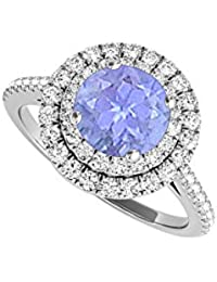 Tanzanite CZ Double Halo Engagement Ring in White Gold