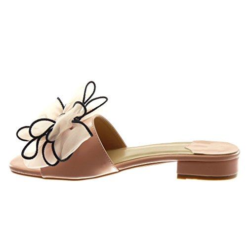 Angkorly Chaussures Mode Sandales Mules Slip-on Femme Noeud Tulle Block Heel 4 Cm Rose
