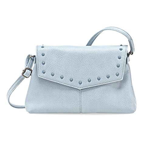 TAMARIS MIDORI Damen Handtasche, Crossover Bag, Nietenbesatz, 3 Farben: light grey, light blue oder schwarz, Farbe:light blue