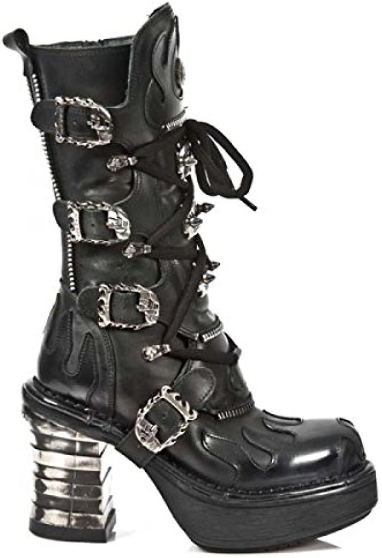 New Rock Boots M.8592-C1 Gothic Hardrock Punk Damen Highheel Stiefel Schwarz