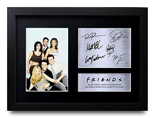 HWC Trading Friends A4 Gerahmte Signiert Gedruckt Autogramme Bild Druck-Fotoanzeige Geschenk Für Joey Chandler Ross Phoebe Rachel Monica Tv-Show-Fans -