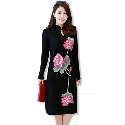 ALUK- Stile cinese - Maglione lungo Cheongsam maglione a maniche lunghe vestito che basa la camicia spessa ( colore : Nero , dimensioni : Xl )