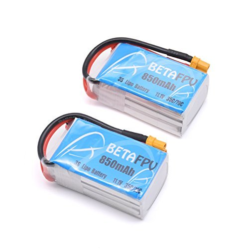 BETAFPV 2pcs 850mAh 3S Lipo Battery 11.1V 35C/70C XT30 Plug for Micro FPV Racing Drone