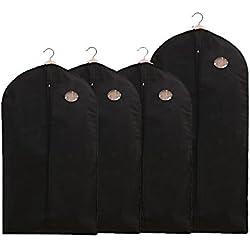 BREEZO 4x Premium Kleidersack Kleiderschutz inkl. 3 Von 100 x 60cm und ein 128 x 60cm hochwertiger Anzugsack Kleiderhülle Anzughülle Aufbewahrung Kleiderschutz aus atmungsaktivem Material Schutz für Ihre Anzüge und Kleider Schwarz