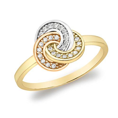 Carissima Gold Damen-Ring 3 Tone Knot - Size L 375 Gelbgold Zirkonia transparent Rundschliff Gr. 52 (16.6) - 3.48.8869 -