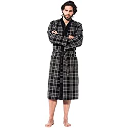 Bugatti, Herren Bademantel lang mit Kimonokragen ,Größe XXL, Farbe grau /schwarz kariert, Hausmantel, Morgenrock, Morgenmantel