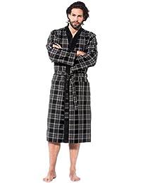 38a38243d7bd73 Bugatti, Herren Bademantel lang mit Kimonokragen, Farbe grau /schwarz  kariert, Hausmantel, Morgenrock,…