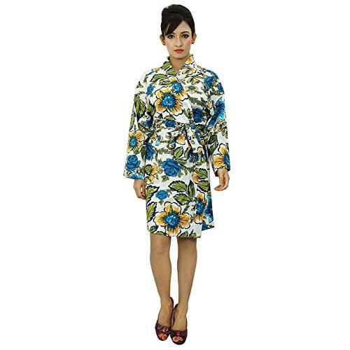 Demoiselle dhonneur Kimono Crossover Robe Spa Wrap courtes coton Robes Blanc