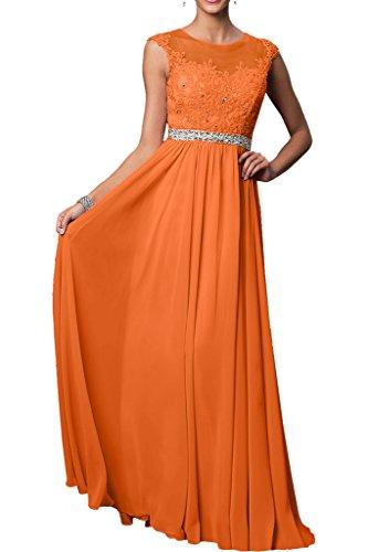 Victory Bridal Damen 2017 Neu Spitze Chiffon Abendkleider Partykleider Promkleider Bodenlang A-linie rock Orange