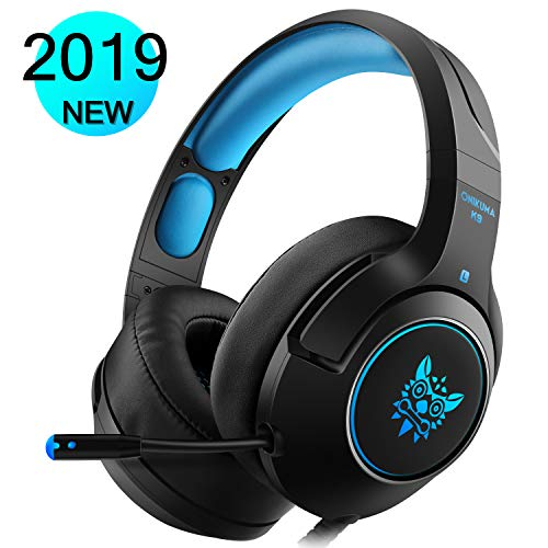 Produktbild DIZA100 Gaming Headset für PS4 Xbox One PC,  Gaming Kopfhörer mit Noise Cancelling Mikrofon Buntes LED-Licht Bass Surround für Nintendo Switch Laptop Smartphones (Black+Blue)