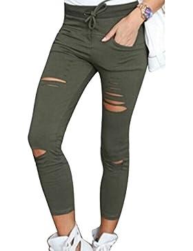 Mujer pantalones elásticos y apretados de agujero Mujer polainas de lápiz de alta cintura