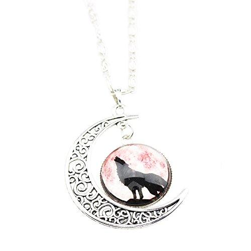foy-mall Fashion Wolf Muster Mond und Zeit gem Anhänger Halskette xl1235
