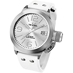 TW Steel Canteen Fashion Unisex Quartz Watch with White Dial Analogue Display and White Silicone Strap TW535