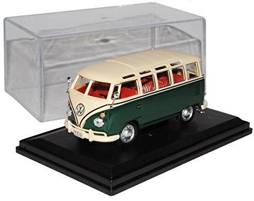 VW Volkswagen T1 Personen Transporter Grün mit Beige Samba Bully Bus 1950-1967 mit Sockel und Vitrine 1/43 Modellcarsonline Modell Auto