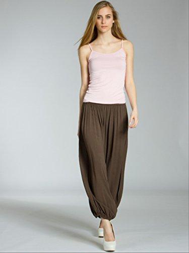 CASPAR KHS036 Damen leichte halbtransparente Sommerhose / Stoffhose / Strandhose aus Baumwolle Dunkelbraun
