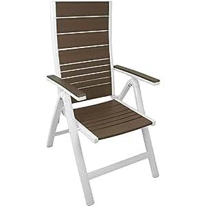 2 Stück Aluminium Hochlehner Gartenstuhl Positionsstuhl Liegestuhl klappbar Rückenlehne 6-Positionen verstellbar mit Polywood / Non-Wood - Flächen in der Farbe desert grey Klappsessel Klappstuhl Gartenmöbel Balkonmöbel Terrassenmöbel