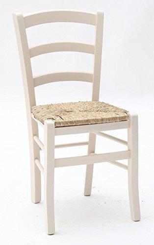 ARREDinITALY Stuhl aus Holz bunt mit Sitz impagliato–Abmessungen L. 43p.42H.88cm. Sitzung H.47cm.