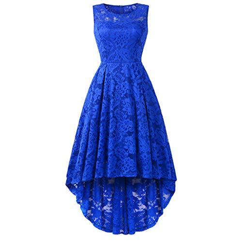 (CixNy Damen Kleider Röcke Islamischen Arabisch Sommerkleider Strandkleid Sommer Ball Party Rundhalsausschnitt Ärmel Cocktail High Und Low Spitze Abendmode Tüllkleid (Blau, Medium))