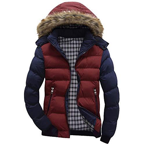 Xmiral Men Daunenjacke Casual Warme Kapuze Winter Patchwork Zipper Outwear Jacke ()