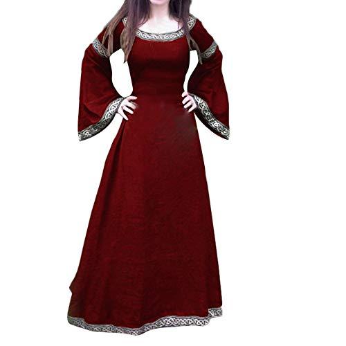 Kostüm Königin Japanische - Damen Mittelalter Kleid Langarm Viktorianischen Königin Kleider Gothic Jahrgang Prinzessin Renaissance Bodenlänge für Brautjunfer Hochzeit Karneval Fasching Fasnacht Weihnachts Party Maxikleid