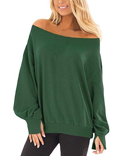 Auxo Damen Langarm Shirt Schulterfrei Oberteil Lose Oversized Tops Casual Pullover 04-Armee-grün Small -