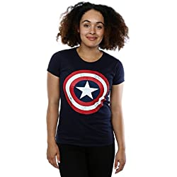 Marvel mujer Captain America Distressed Shield Camiseta Medium Armada