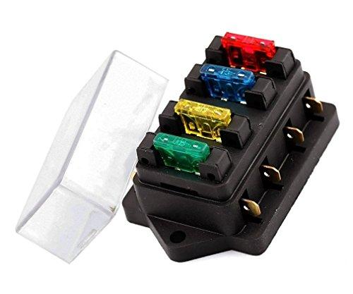 Preisvergleich Produktbild INIBUD 4-Fach Sicherungshalter ATO ATC 12V/24V KFZ mit 4 Sicherung Sicherungskasten Flachsicherungen Sicherungsdose Sicherungsträger
