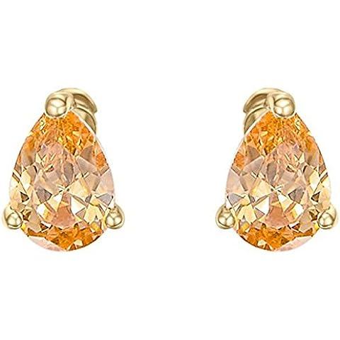 Daesar Joyería Pendientes de Oro, Aretes para Mujer Pendiente Colgante Oro Marquesa Corte Rhinestone Arillo 0.8cm