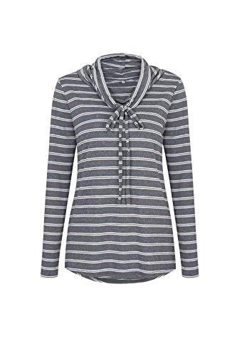 Junshan Femme Longues Manche À Cloche Chemise Loose T-Shirt Ladies Casual Blouse Tops Chemise à Manches Longues Lady T-Shirt Gris