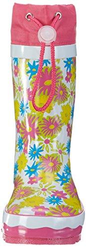 Playshoes Unisex-Kinder Blumendruck Gummistiefel Mehrfarbig (weiß)