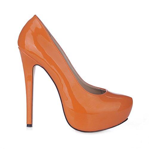 Green High Glitter Heel Schuhe (Einzelne Frauen und sexy Abendessen des high-heel Schuhe rosa lackierten Schuhe aus Leder, Orange)