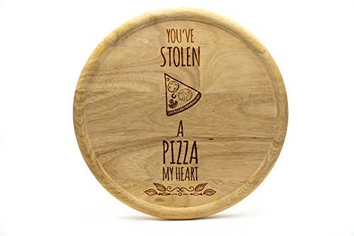 Pizzateller 32cm aus Holz (Gummibaumholz) - Pizza Motiv - You've stolen a Pizza my heart | Gravur | Geschenk | Pizzateller