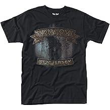 Bon Jovi New Jersey Negro Camiseta Oficial Con Licencia Música