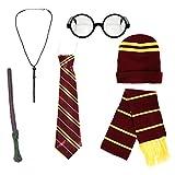 Kids School Boy Wizard Fancy Dress Costume Accessories (Glasses, Elastic Tie, Scarf & Wand)