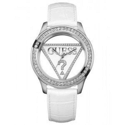 Guess W10216L1 - Reloj analógico de mujer de cuarzo con correa de piel blanca - sumergible a 30 metros