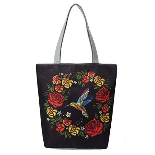 Felicove Damen Schultertasche, National Wind Canvas Tasche Lässig Strandtaschen Damen Einkaufstasche Handtaschen Freizeit Elegante Taschen