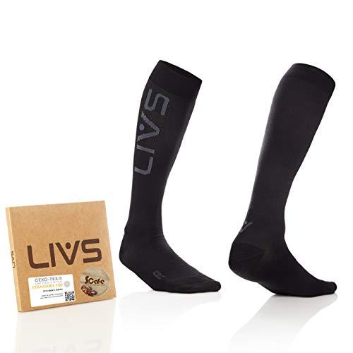 LIVS Kompressionsstrümpfe Geruchshemmend - Knie-Kompressionsstrümpfe für Damen & Herren - Stützstrümpfe für Regeneration - Reise-Kompressionsstrümpfe Medizinisch Empfohlen (Breite Fußspitze)