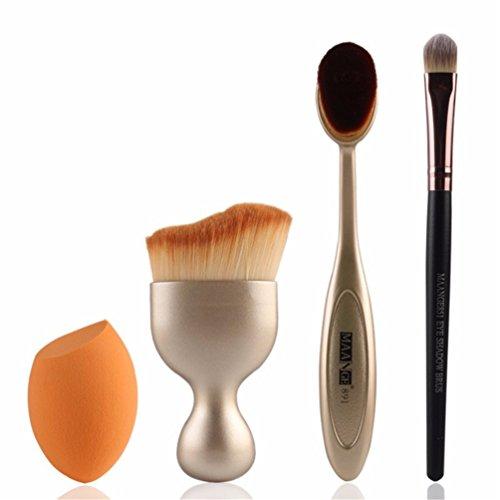 Fashion Base® professionnel 4 pcs Contour Fond de teint Brosse kit Pinceaux de maquillage cosmétique en forme de S Crème Poudre blush Lot de brosse de maquillage (Doré)