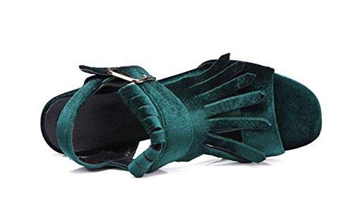 GLTER Donna pompa a punta di punta Stivaletto in pelle scamosciata con cintura Fibbia Sandali con tacco alto Slingback Green