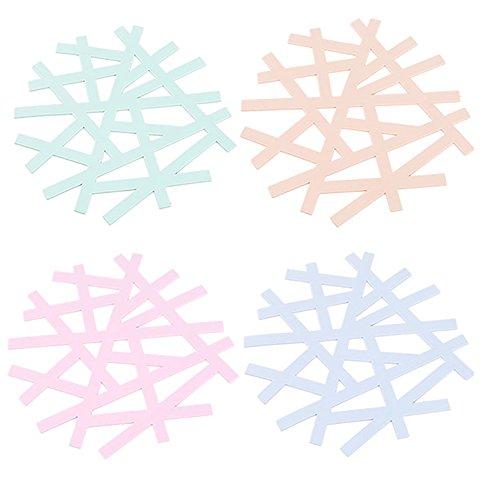 Cosanter 4 X Lavable Dessous de Verre en Silicone Adiabatique Sous-Verres Multifonctionnel Tapis de Tasse pour Protection de Table-Couleurs Aléatoire