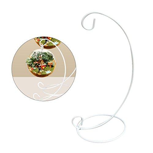 Vosarea Spirale Ornament Display-Stand-Rack-Halter für hängende Glaskugel Air Plant Terrarium Hexe Ball Christbaumkugel und Home Wedding Dekoration, weiß, 1 Stück