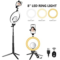 Neewer LED Ring Light 8-Pouces - Mini Anneau Lumière 3200-5600K pour Maquillage Selfie,LED Lampe de Table avec Miroir,Mini Trépied/Perche Selfie,Porte-Smartphone, 3 Modes Eclairage