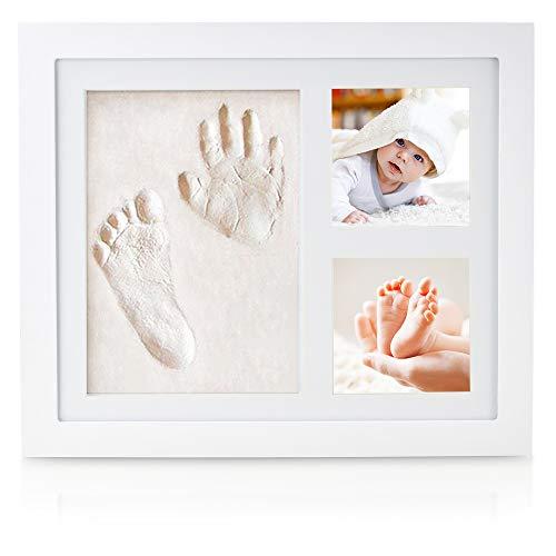 NIMAXI Baby Bilderrahmen mit Gipsabdruck, Größe 23x28cm, Farbe weiß, Bilderrahmen Abdruckset Handabdruck und Fußabdruck