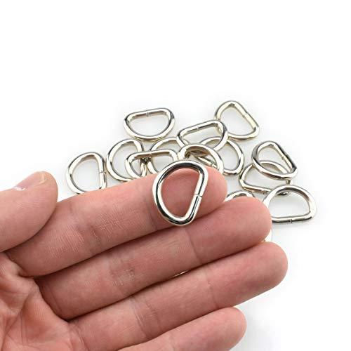HAO PRO Extra dicke 3 mm geschweißte starke D-Form Ringe Metall Heavy Duty Silber 2,2 cm Innenbreite 27 Stück für Hundehalsbänder Geschirre Stoff Paracord DIY Gurtband Basteln Glatt rostfrei (Hundehalsbänder D-ringe Für)