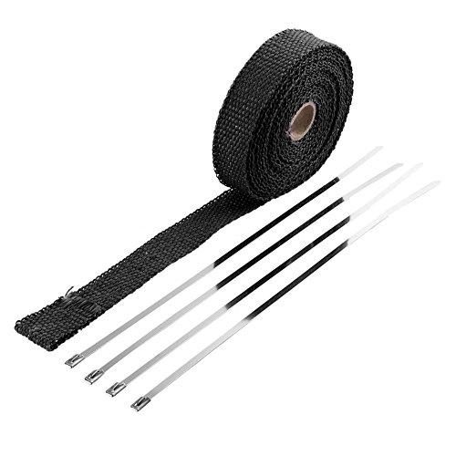 Poetryer 5.6M Fächerkrümmer Thermoband Exhaust Header Pipe Wrap Tape mit 4 Edelstahl Kabelbinder für Auto und Motorrad Hitzeschutzband