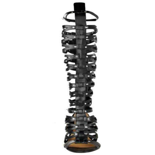 DONNE GLADIATORE al ginocchio Sandali con spalline a spillo PARTY Tacco Taglia Ecopelle Nera